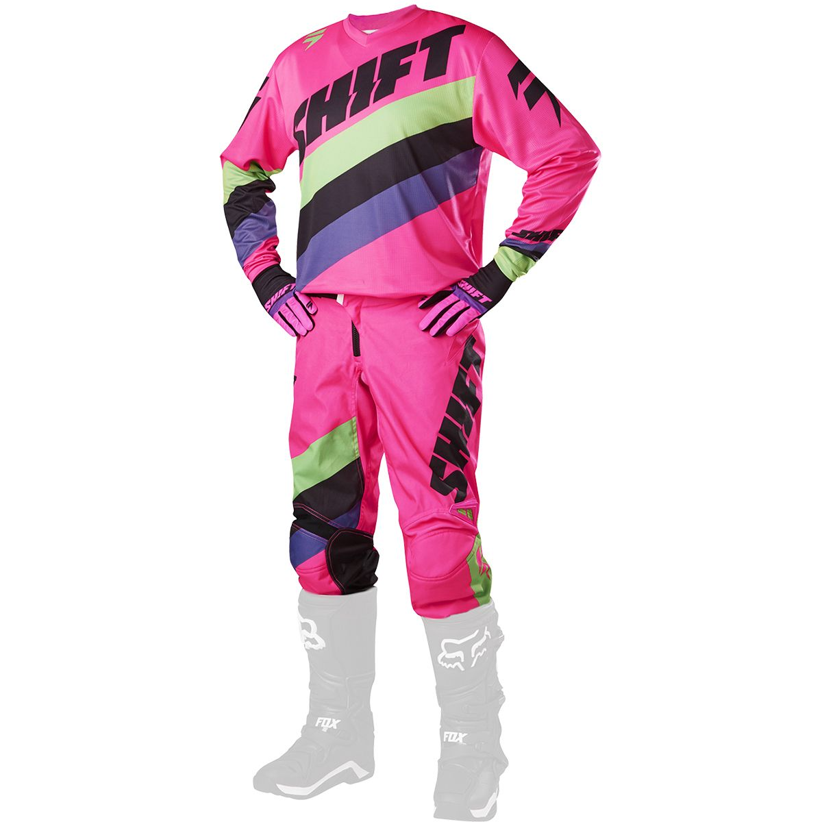 Shift - 2017 WHIT3 Tarmac комплект штаны и джерси, черно-розовые