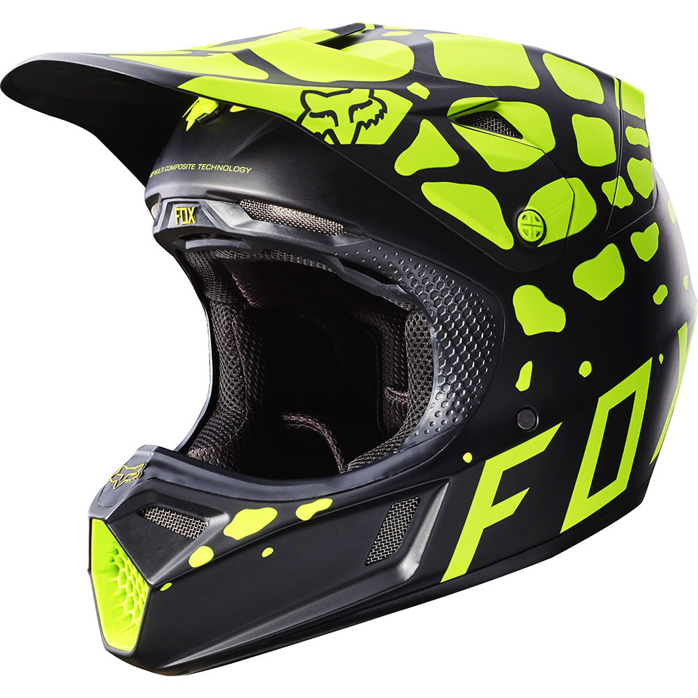 Fox - 2017 V3 Grav шлем, черно-желтый